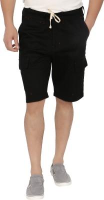 Blimey Solid Men's Black Cargo Shorts