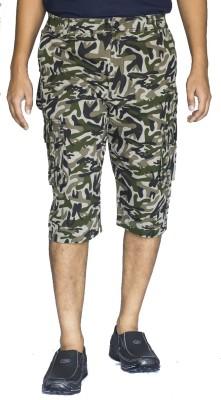 0-Degree Printed Men's Green, Black, Beige Cargo Shorts