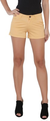 Again? Vintage Solid Women's Beige Chino Shorts