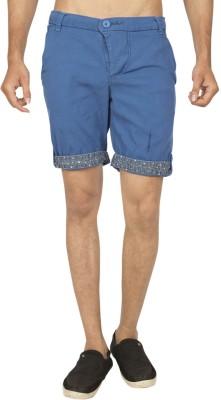Truccer Basics Solid Men's Blue Cargo Shorts