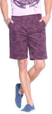 Blue Wave Printed Men's Red Basic Shorts