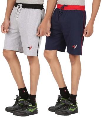 Meril Solid Men,s Grey, Dark Blue Sports Shorts