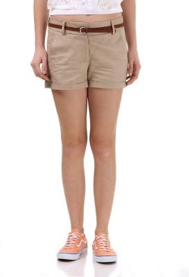 Vero Moda Solid Women's Beige Denim Shorts
