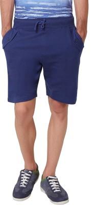 Elaborado Solid Men,s Blue, Dark Blue Basic Shorts