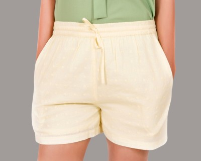 ZUZIZ Embroidered Women's Yellow Basic Shorts