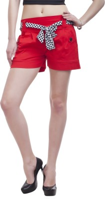 Peptrends Solid Women,s Red Chino Shorts