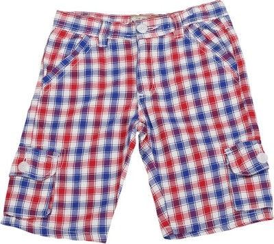 Color Fly Checkered Boy's Red Cargo Shorts