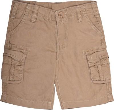 Coffee Bean Self Design Boy's Beige Cargo Shorts