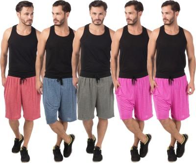 Meebaw Self Design Men,s Red, Dark Blue, Grey, Pink, Pink Sports Shorts