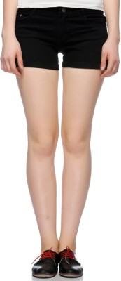 Fasnoya Solid Men,s Denim Black Denim Shorts