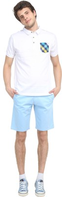 Colors Couture Solid Men's Light Blue Chino Shorts