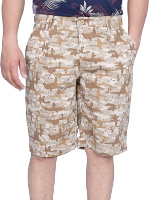 Kaaj Designs Printed Men's Beige Denim Shorts