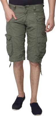 883 Police Solid Men's Brown Cargo Shorts