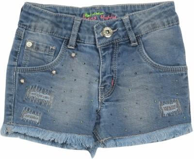 GJ Jeans Unltd Solid Girl's Blue Basic Shorts