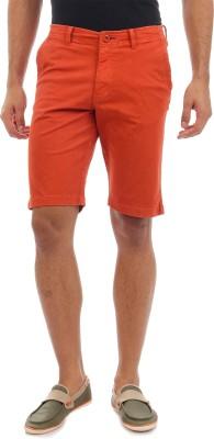 Sting Solid Men's Orange Chino Shorts