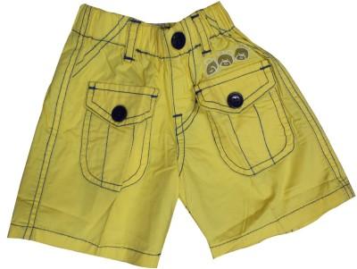 Mankoose Self Design Boy's Yellow High Waist Shorts