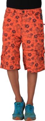 Blacksoul Printed Men's Orange Cargo Shorts