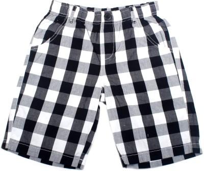 Cub Checkered Boy's Black, White Bermuda Shorts