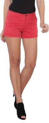 Again? Vintage Solid Women's Red Chino Shorts