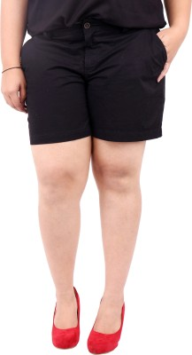 LastInch Solid Women's Black Basic Shorts