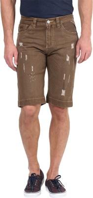 CODE 61 Chevron Men's Gold Denim Shorts