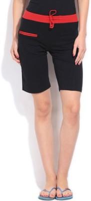 Happy Hours Solid Women's Black Bermuda Shorts