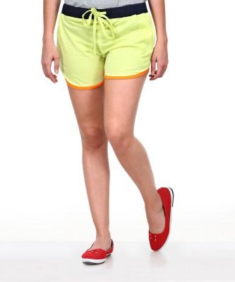 Yepme Solid Women's Yellow Basic Shorts at flipkart