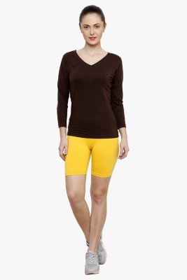 Softrose Solid Women's Yellow Cycling Shorts