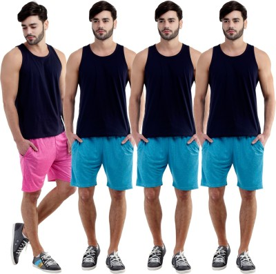 Dee Mannequin Self Design Men's Pink, Blue, Blue, Blue Sports Shorts