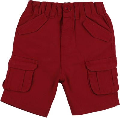 Baby Pure Solid Baby Boy's Red Cargo Shorts