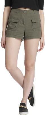 Vero Moda Solid Women's Green Denim Shorts
