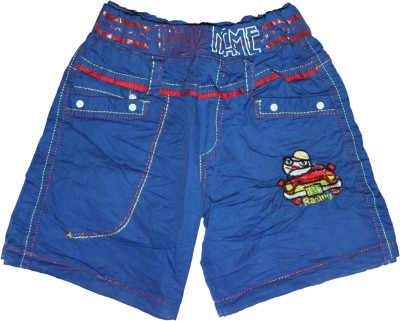 Mankoose Embroidered Boy's Blue High Waist Shorts