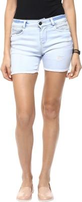 GOFAB Self Design Women,s White Denim Shorts