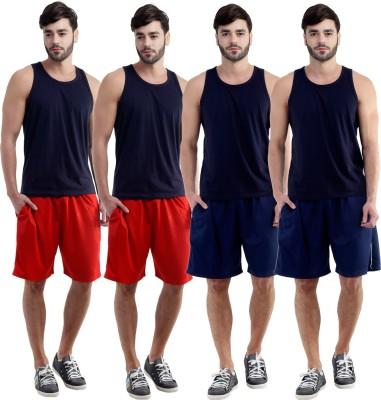 Dee Mannequin Self Design Men's Red, Red, Dark Blue, Dark Blue Sports Shorts