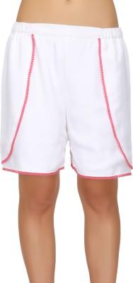 Ozel Solid Women's White Basic Shorts