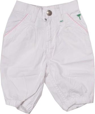 Palm Tree Solid Baby Girl's White Basic Shorts