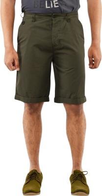 Blue Wave Solid Men's Green Basic Shorts