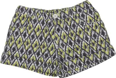 Addyvero Printed Girl's Grey, Green Basic Shorts