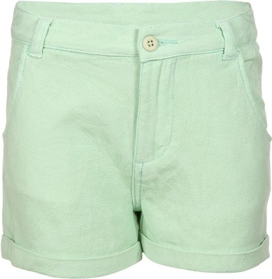 Miss Alibi by Inmark Solid Girl's Green Basic Shorts