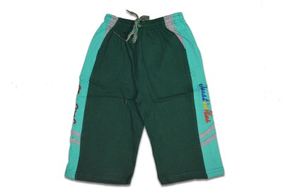 Just In Plus Solid Baby Boy's Reversible Green Basic Shorts