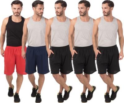 Meebaw Self Design Men,s Red, Dark Blue, Black, Black, Black Sports Shorts