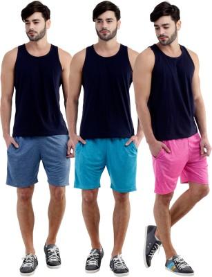 Dee Mannequin Self Design Men's Dark Blue, Pink, Blue Sports Shorts