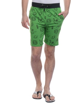 FREE RUNNER Printed Men's Green Beach Shorts
