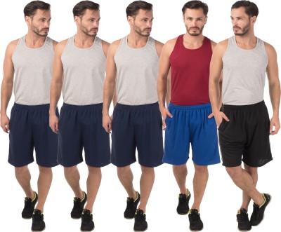 Meebaw Self Design Men,s Dark Blue, Dark Blue, Dark Blue, Blue, Black Sports Shorts