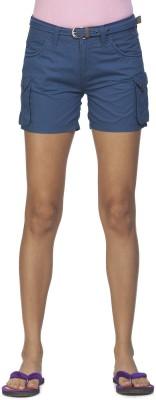 Ixia Solid Women's Blue Cargo Shorts