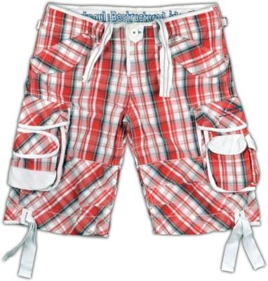 Blacksoul Checkered Men's Red, White Cargo Shorts