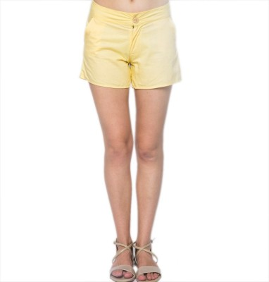 American Swan Solid Women's Yellow Hotpants