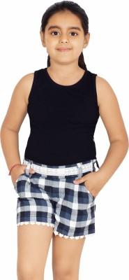 Naughty Ninos Checkered Girl's Black, White Basic Shorts