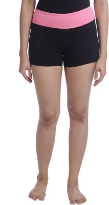 Nite Flite Solid Women's Black, Pink Sports Shorts