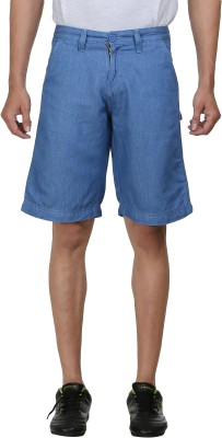 FX Jeans Co Solid Men's Blue Cargo Shorts
